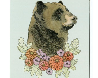 Bear with Flowers - 5x7 Mini Print
