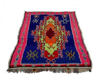 """66""""x55"""" Vintage Moroccan Rug Woven By Hand From Scraps Of Fabric / Boucherouite / Boucherouette"""