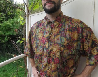 Vintage Pure silk Color shirt pattern surreal Point