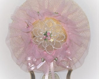 Lovely Victorian Pink Roses Hat LED NIGHT LIGHT with Pink Ribbon Bow Gift