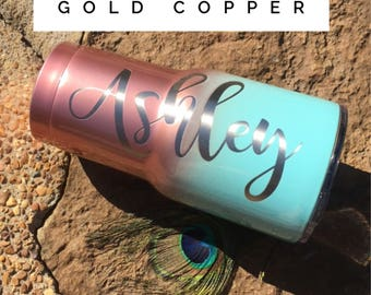 Rose Gold yeti rosegold Ombre Rose Gold RTIC Cup Powder Coated Engraved Unique Gift Anniversary Mothers Day