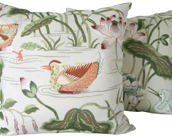 Lotus Garden In Parchement-High End Decorative Pillow Cover-Schumacher-Made To Order-Single Sided