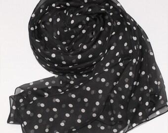 Black Silk Chiffon Scarf with Small Polka Dot Print - White Dot Printed Silk Scarf - AS34