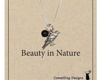 Sterling Silver Raven Pendant Necklace with Black Onyx Bead | Crow Bird Charm, Blackbird Jewelry, Spirit Animal Gift, Bird Lover Present
