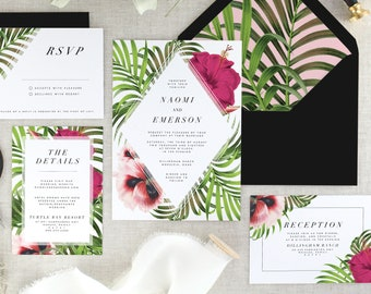 Tropical Wedding Invitation Suite - Destination Wedding Invitations - Floral Wedding Invitation Set - Modern Wedding Invites - Set of 10