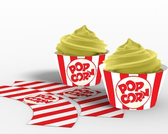 Printable Popcorn Box Cupcake Wrappers, Carnival Popcorn Party, Movie Night Popcorn Party, Circus Popcorn Party, Instant Download