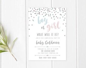 Gender Reveal Invitation, Gender Reveal Party, Boy or Girl, Boy Baby Shower, Girl Baby Shower, Glitter, Confetti, Boy, Girl, Silver [597]
