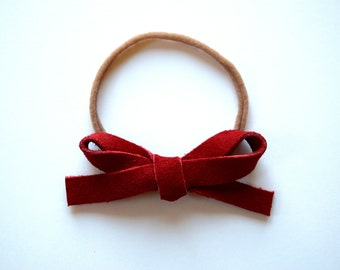Red Suede LARGE Leather Bow One Size Fits All Elastic Adorable  Photo Prop for Newborn Baby Little Girl Child Adult Christmas Headwrap