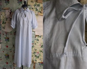 Vintage 1970s Country Miss Pale Blue Smock Dress. Medium. Sheer, lightweight, boho.
