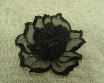 coat sewing - black flower embroidered