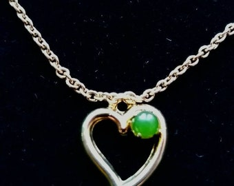 Gold Heart and Jade Charm Necklace