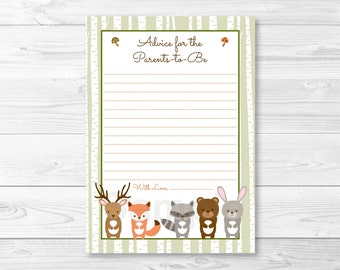 Woodland Forest Animal Mommy Advice Cards / Words of Wisdom / Birch Tree / Fox Deer Bear Rabbit Raccoon / Printable INSTANT DOWNLOAD A187