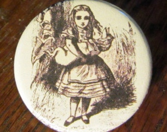 Alice and Pig Baby Alice in Wonderland 1.25 inch BUTTON/PIN/BADGE Vintage Tenniel Image