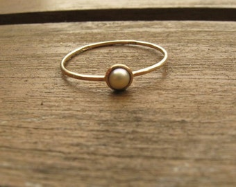 Pearl Ring, 14k gold ring, Solitaire ring, Engagement ring, Dainty ring, Stacking ring, Freshwater pearl, Pearl jewelry, gift for her