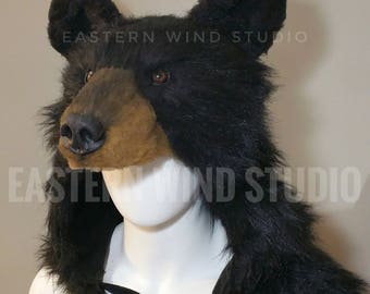 Black Bear Headdress, costume, rug, stole, display, prop (animal friendly)