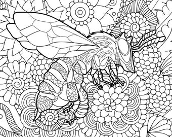 Bee Theme Adult Complicated Coloring Page PDF Digital Download Color Pages