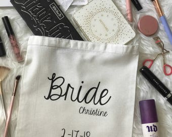 Bride Tote Bag| Bride Bag| Wedding Day Tote for Bride | Bride Gift | Bridal Tote Bag| Bridal Shower Gift Bag| Bridal Shower Tote Bag