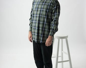 Plaid Flannel Button Up / Lumberjack Green Shirt / Cozy Fall Shirt