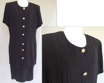 Black Vintage Dress, 1980's Textured Dress, Fits Large