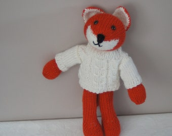 What a fantastic Mr fox in a cabled sweater hand knitted soft toy by Liz
