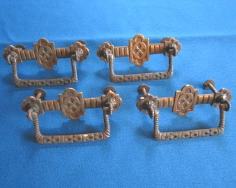 Vintage Lot of 4 Salvaged Aesthetic Era Drawer Handles for Furniture Assemblage Lot E