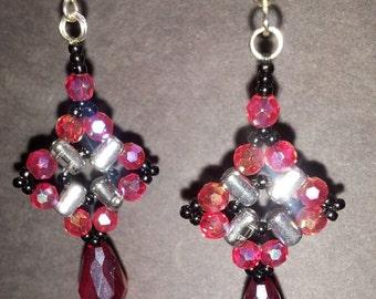 Bead Woven Earrings, Diamond Shape with a Drop Dangle