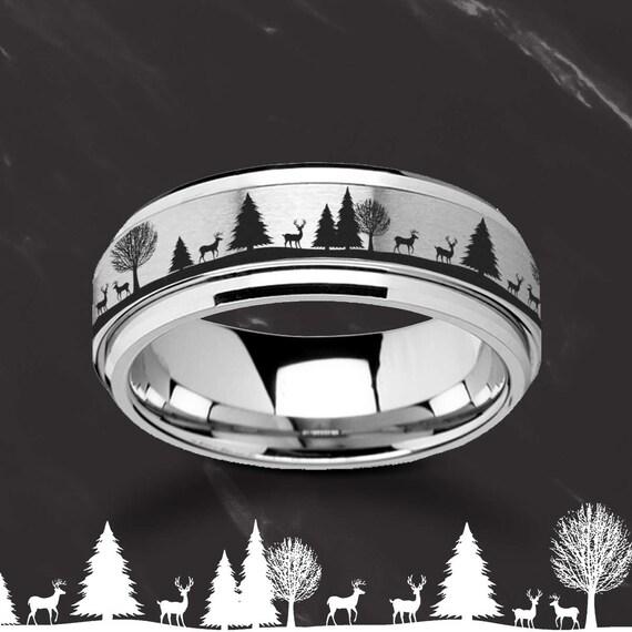 Laser Engraved Fidget Spinner Deer Ring Stag Antler Forest Satin & Polished Edges - 8mm Available - Lifetime Size Exchanges