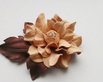 Handmade genuine leather flower brooch, Leather brooch, Handmade flower, Leather flower, Bridesamaid flower brooch, Spring wedding