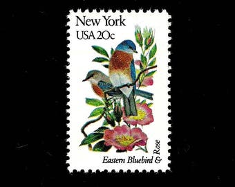 10 New York -Free Shipping- Eastern Bluebird - Rose - Vintage Unused U.S. Postage Stamps - Post Office Fresh!