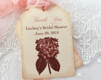 Pink Hydrangea Tags, Bridal Shower Tags, Thank You Tags, Set of 10