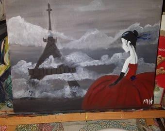 9x12 Lady in Paris