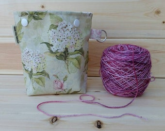 Pretty Floral Ball Sack for up to DK Weight -- Yarn Holder for Inside Project Bags Handmade