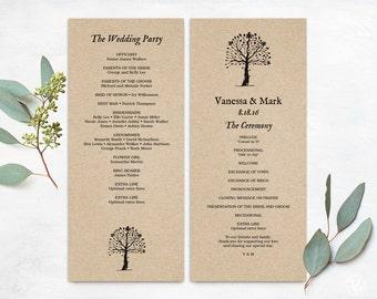 Wedding Programs, Printable Wedding Program Template, INSTANT DOWNLOAD, Editable Text, Kraft Paper Program, Tea Length, Rustic Tree