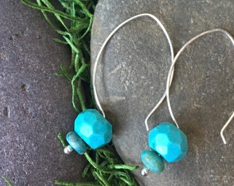 Sterling Silver Hoop Ear Wires with Stacked Turquoise Stones