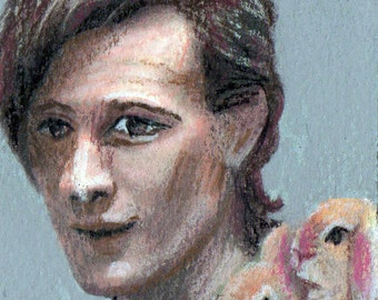 original color pencil drawing Dr Who with bunnies