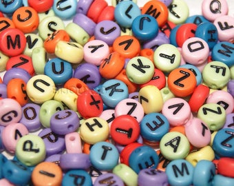 Letter color Mix 200 beads 7mm round acrylic alphabet M03146