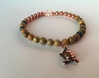 Wild Horse Jasper Bracelet Copper Turtle Nature Charm Gemstone Bracelet Gift for Friend