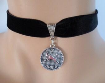 velvet choker, aries choker, aries necklace, stretch ribbon, black velvet, star sign, zodiac charm