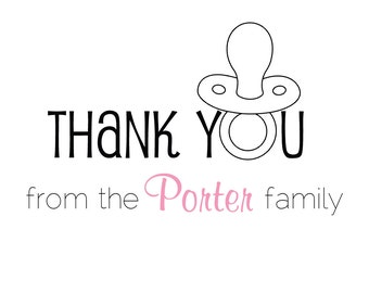 """Thank you card set - """"Pacifier / from the family"""" (set of 20 cards & envelopes / formal fonts)"""