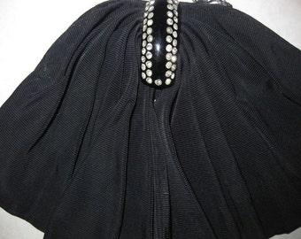 Vintage Mad Men Black Plastic Rhinestone Button Scarf Bow File Fabric