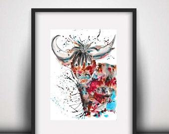 Giclee print, Highland cow art, highland cow print, cow art, highland cow, art print, country kitchen decor