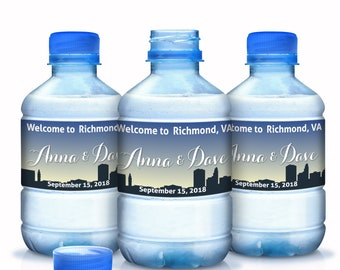 Bottled Water Labels - 30 Wedding Water Bottle Labels - Welcome to Richmond VA - Water Bottle Wraps - Bottle Stickers - 3 sizes