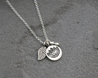 Sterling Silver Lotus Flower Necklace, Lotus Flower and Leaf Necklace, Silver Cluster Necklace, Leaf Jewelry, Nature Jewelry