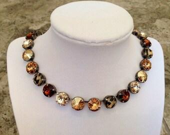 NEW Blondie Brownie 12mm Swarovski Crystal Necklace
