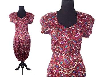 80s Paisley Dress with Waist Button Chain Detail Sz M