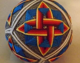 Japanese Temari Ball  Flaming weave