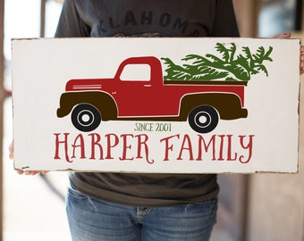 Vintage Truck Family Name Wood Sign | Mothers Gift | Merry Christmas Pickup Sign | Family Established Sign | Housewarming Gift | 24x11