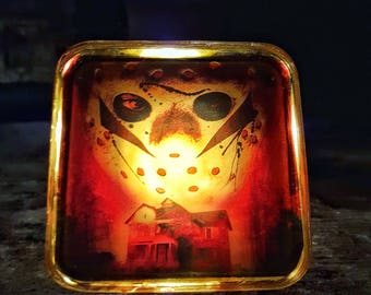 Friday The 13th Night Light Jason Voorhees Retro Horror Decor Spooky Gift for Him Her Camp Crystal Lake Creepy 80s Hockey Mask Plug In Art