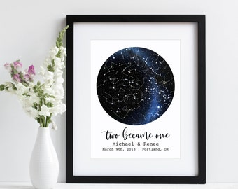 Two Became One | Under This Sky Personalized Star Map Sky Map Star Print | First Anniversary Gift | Paper Anniversary Gift | Wedding Date