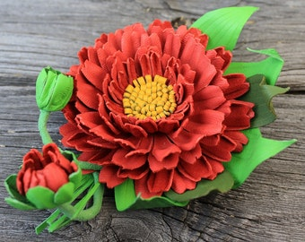 Leather Flower Brooch, Leather Jewelry, Leather Brooch, Flower Brooch, Leather Brooch, Leather Gerbera, Leather Flower, Brooch, Brooches